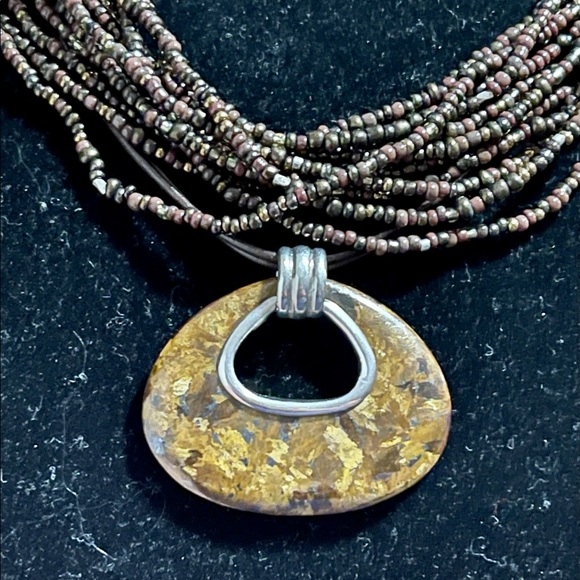 TWO Bronze Sterling & Leather Beautiful Necklaces!